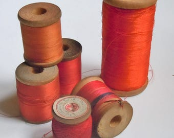 Thread / Vintage Group of Wooden Spools of BluRed and Orange Thread / Assortment of 6 / Clarks / Belding / Vintage Color Palette