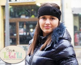 SALE! Knitted Bow Headband, Black Bow Ear Warmer, Women's Winter Accessory Knit Head Wrap, Knitted Ear Warmer, Knit Hair Wrap