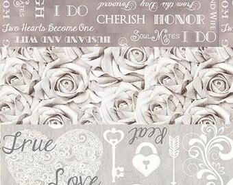 Wedding Roses Love  - 3 Fabric Bundle