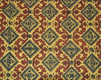 Yellow Beautiful Ajrak fabric Block print fabric Indian print fabric by the yard