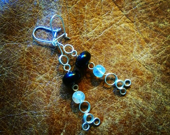 Moonstone and onyx silver wire handmade earrings