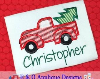 Christmas Digital Applique Design, Christmas Truck Embroidery Design, Christmas Embroidery Design, Truck Applique, Tree Applique, Holiday