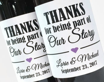 Thanks for Being Part of our Story Bridal Shower Favor or Wedding Favor, Custom Mini Wine or Champagne Labels, choose your heart color