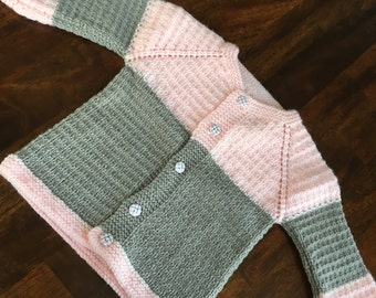 Hand Knit Baby Sweater/Cardigan in Pink and Gray