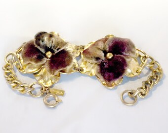 Pansy Bracelet, Monet Jewelers Velvet Pansy Bracelet, Pansy Jewelry, Velvet Jewelry, Jewelry For Restoration, Rare Monet Jewelry