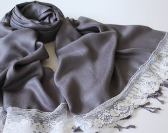 CHARCOAL PASHMINA - charcoal shawl - gray bridal scarf - grey bridal shawl - dark grey shawl - dark gray pashmina - grey scarf - gray wrap