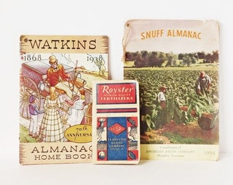 Vintage Farming Almanacs, Circa 1930s - 50's, Snuff Almanac, Roysters Fertilizers, Watkins Almanac, Farming Pamphlets, Homesteading Book