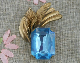 Large 1980s blue stone brooch