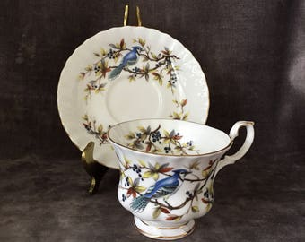 Vintage Royal Albert Woodland series Blue Jay teacup and saucer set 80-87