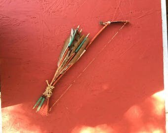 Vintage Hand Made  Hopi Bow and Arrow  Set For A Wall Hanging