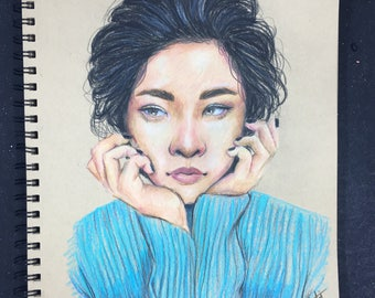 Original Prismacolor Colored Pencil portrait: Girl with Blue sweater