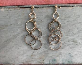 Celtic Circles Hanging Dangling Post Stud Sterling Silver Hoop Earrings 4.5g. From Dublin Ireland.