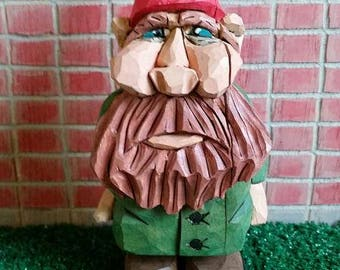 Gnome wood carving hand carved by MADellinger  Wood Carving LBH # 9