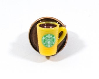 Yellow coffee cup adjustable ring, dollhouse miniature ring, coffee lover gift, adjustable bronze tone ring