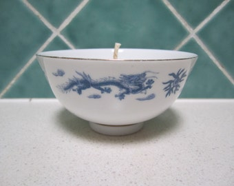 "Soy Candle in  Vintage Blue and White Rice Bowl  -""Coconut and Lime""- Handmade"