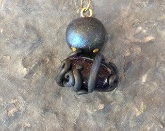 Purple Goldstone Octopus Pendant
