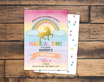 Unicorn Birthday Invitation (Digital File or Prints with Envelopes) (FREE Shipping) (ALL Wording can be changed)