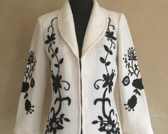 Vintage 90's Embroidered Wool Blazer