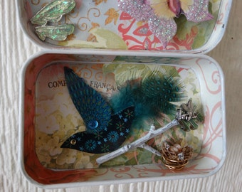"Altered Altoid Tin Mixed Media assemblage ""Beautiful Things With Wings"""