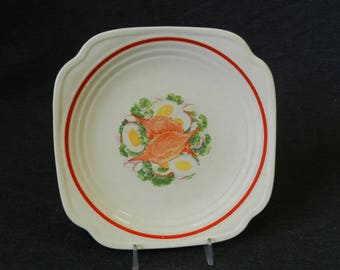 Vintage Upico Ivory Universay Cambridge Soft-Shelled Crab and Egg Square Salad Plate - UNI58 - Oven Proof - Made in the USA