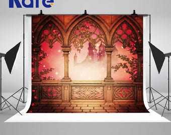Mysterious Palace Castle Photography Backdrops Red Brick Building Photo Backgrounds for Wedding Studio Props