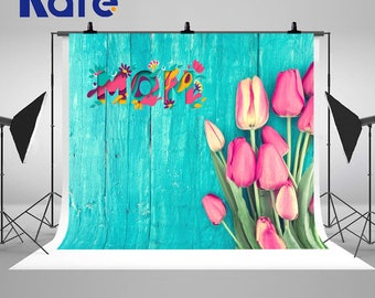 Mother's Day Blue Wood Wall Photography Backdrops Seamless Pink Tulip Flowers Photo Backgrounds for Studio Props