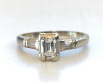 Emerald Cut Engagement Ring | Vintage | Illusion Setting | White Gold | 14k | Size 6 | Item 79816