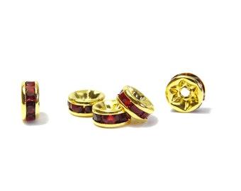 10x Gold plated Round A-Grade Rhinestone Spacers, Strass Rondelles 6 mm - Garnet