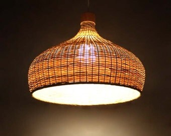 Bamboo lampshade etsy free shipping bamboo lighting bamboo pendant lights countryside lamps vintage lights decor aloadofball Image collections