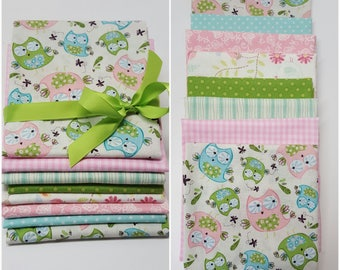 Woodland fabric bundle-Owl Quilting fabric bundle-Quilts-Craft supply-Girls quilting fabric-Bundle of 8 fat quarters-girls quilt fabric.