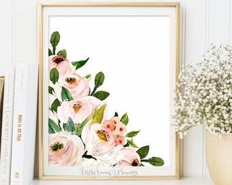 floral illustration nursery decoration Printable flower Decor Nursery wall art nursery flower print garden flower instant download 6-26