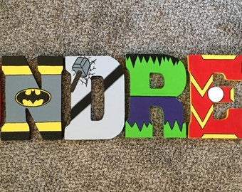 Super Hero Wood Letters - Wood Letters - Super Hero Party - Kids Room Decor