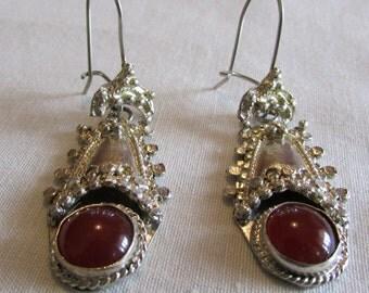 900 Silver and Carnelian Wire Dangle Earrings