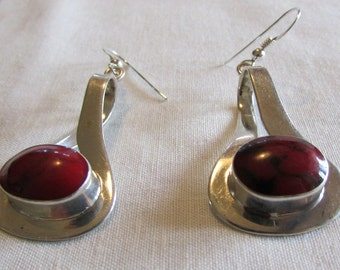 Sterling Silver and Red Stone Wire Dangle Earrings from Mexico