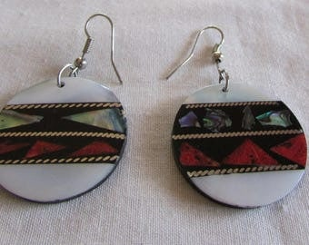Mother of Pearl, Abalone Shell and Red stone Dangle Wire Earrings