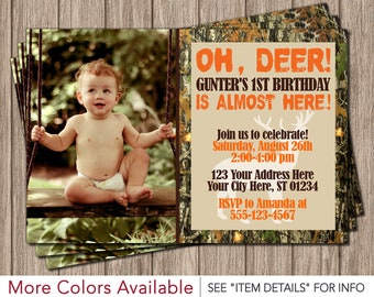 Deer Hunting Birthday Invitation - Camo