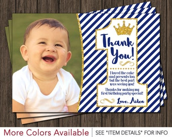 Prince First Birthday Thank You Card -  Royal Blue 1st Birthday Thank You Card