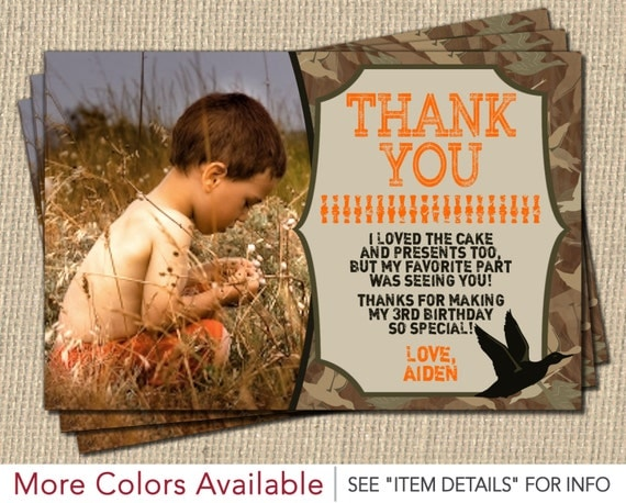Duck Hunting Thank You Card Personalized Camo Birthday Thank You