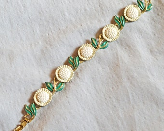 Cute Vintage Bracelet - White Flowers and Green Leaves, Gold Tone Metal, 1960s or 1970s