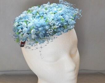 Vintage Flower Fascinator or Modified Pillbox Hat - Blue Flowers, 1960s, Innes of Wichita