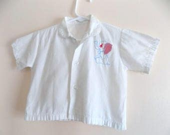50s Boys Shirt, Elephant, Button Down, 1950s, Applique, Vintage Childrens Clothing, Baby Boy, Size 12 Months, Size 18 Months, Boys Top