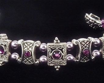 Amethyst Crystal Bracelet with Swarovski Crystals and Magnetic Clasp
