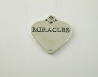 "Silver ""MIRACLES"" heart charm pendant 2 grams"