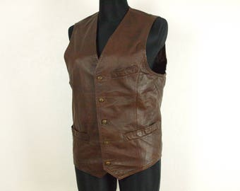 Brown Leather Vest by Patino Size M 100% Genuine Leather Made in China brown Biker style thick leather vest Steampunk vest