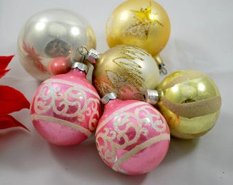 Six Christmas Ornaments with Glitters , 1960s ,  Christmas Tree Decoration , Hanging Ornaments