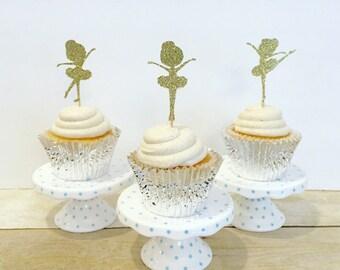 Glitter Ballerina Cupcake Picks / Cupcake Toppers / Set of 12