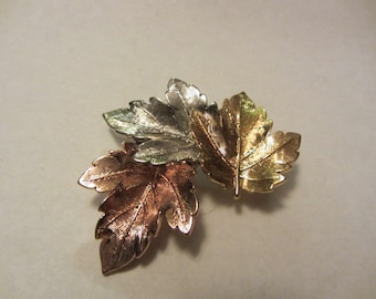 Tri Color Leaf brooch silver rose and gold color fashion jewelry
