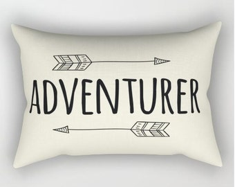 Adventurer Pillow - Arrow - Woodland Nursery Decor - Custom - Baby Shower Gift - Gender Neutral