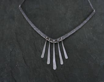 geometric hammered sterling silver chevron necklace