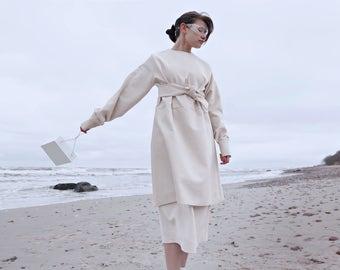 SS17 - Minimal design Dress - Extraordinary dress - Handmade - Two Layers dress - Soft Velvet - Custom design - Oversize dress - White dress